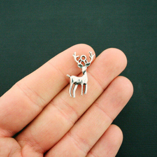 6 Stag Charms Antique Silver Tone 2 Sided Deer Hunting Charm - SC2389