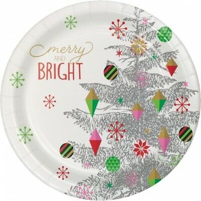 Bright Christmas Tree 9 Inch Paper Plates 8 Pack Winter Party Decoration