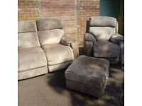 2 + 1 Seater Electric Recliners + Footstool with Storage