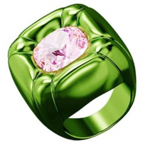 SWAROVSKI CRYSTAL DULCIS COCKTAIL RING GREEN SIZE 8 LARGE 5609724.NEW IN BOX