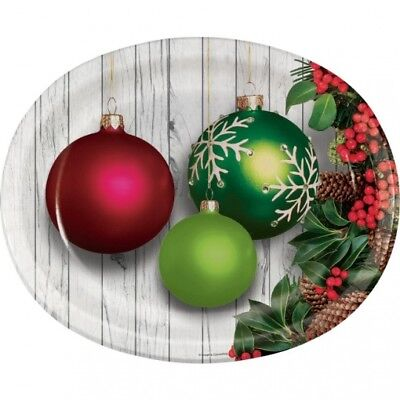 Christmas Ornaments 12 Inch Oval Paper Plates 8 Pack Winter Christmas Party