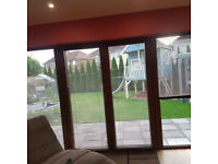 For sale used metalic golden oak blinds .