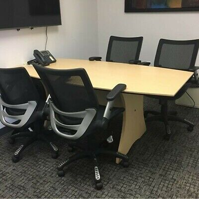 Hon Conference Room Table 6 X 3. Boat Shape. Two Tone.