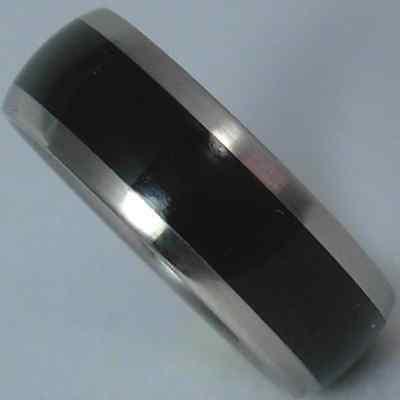 Custom Sized Titanium Ring (Custom Titanium African Black Wood Ring Wedding Band Mens or Ladies Sizes)