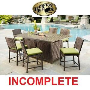 NEW* HB 7 PC HIGH PATIO DINING SET - 116105319 - HAMPTON BAY CAROL STREAM BALCONY HIGH