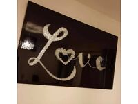 Large black silver 3d love heart glitter sparkle picture mirrored glass frame