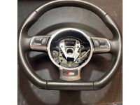 Audi A3 A4 A5 Q7 S Line Flat Bottom Multifunction Steering Wheel 8J0 419 091 G / A1 condition