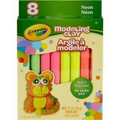 Crayola Modeling Clay 8 colors Non toxic sticks Neon colors won't dry out!