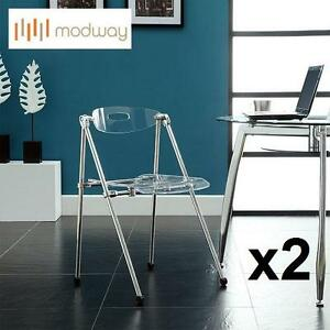 2 NEW LEXMOD TELESCOPING CHAIR CLEAR - TELESCOPING CHAIR IN CLEAR 103319439