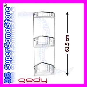 3s gedy 2484 etag re d 39 angle fil pour douche salle de bain 3 bacs porte savon ebay - Etagere d angle salle de bain ...