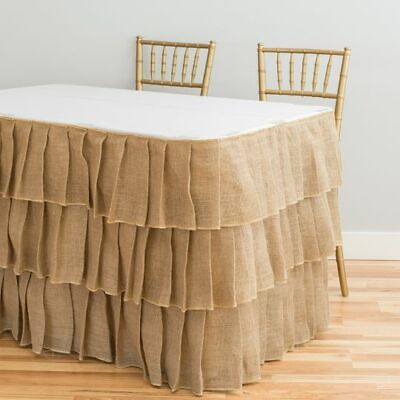 Ruffled Table Skirt (Tiered Ruffle Burlap Table Skirt 14/ 17/ 21 ft. Wedding Party Event)