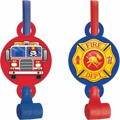 Flaming Fire Truck Blowouts w/Medallion 8 Per Pack Firefighter Party Favors