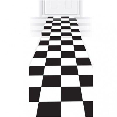 Black & White Checkered Polyester Aisle Carpet Runner 24