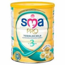 2 tins of SMA toddler milk 1-3 years all sealed