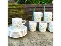 Hornsea 'fleur' set of 6 espresso cups and saucers