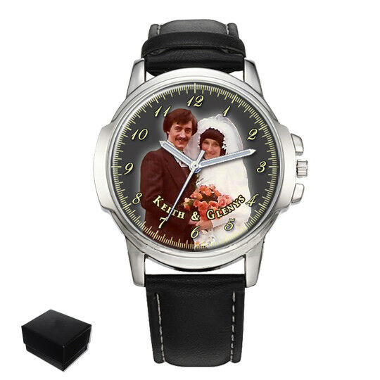 PERSONALIZED CUSTOM WEDDING PHOTO MENS WRIST WATCH GIFT ENGRAVING CHRISTMAS