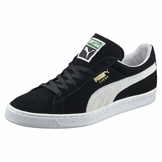 Puma Men's SUEDE CLASSIC+ Shoes NEW AUTHENTIC Black-White 352634-03