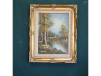 Fantastic original oil on canvas painting by William Nolwood in a glorious, gilded frame