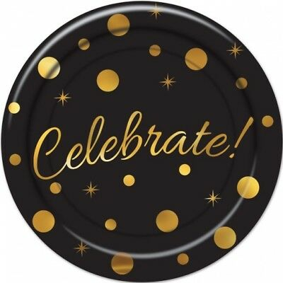 Celebrate Black and Gold 9 Inch Paper Plates 8 Pack Red Carpet Awards New Years - Paper Plate Awards