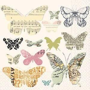 4 x Paper Napkins- Media Butterflies -Ideal for Decoupage / Decopatch [1660925]