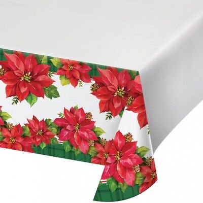 Christmas Poinsettia Plastic Banquet Tablecloth Winter Party Decoration - Christmas Plastic Tablecloths