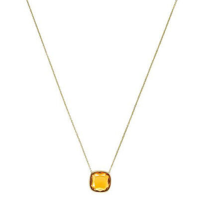 Michael Kors Gold Mkj4234 Botanicals Women Citrine Hued Stone Tone Necklace