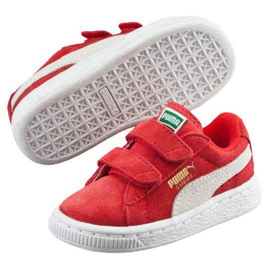 Puma, 356274-03, Suede 2 Straps Infant toddler, High Risk Red/White