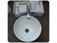 En-Suite/Down Stairs Wash Basin , Worktop Tower Waterfall Tap and Oak Style 500 Base Unit