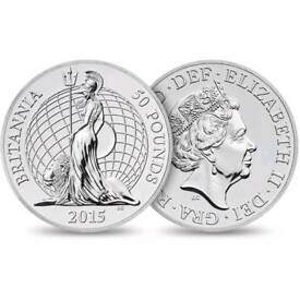 2015 UK RARE FIRST EVER FINE SILVER £50 2 ounce coin