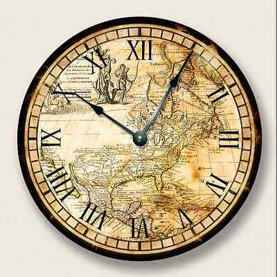 VINTAGE OLD MAP North America Wall Clock old world look - 7007_FT ()