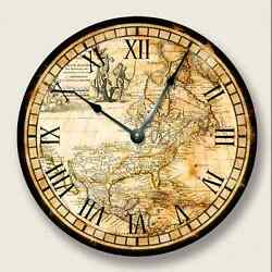 VINTAGE OLD MAP North America Wall Clock old world look - 7007_FT