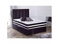 *****BRAND NEW*****KING SIZE Crushed Black/Silver Velvet Divan Bed Set*****