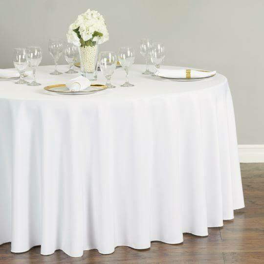 "120"" Round White Tablecloth Polyester Seamless Wedding Party"