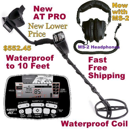 NEW 2018 Garrett AT PRO Metal Detector with MS-2 Headphones * Fast Free Shipping