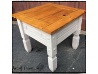 """Rustic Pine Mexican Corona Coffee Table Hand Painted in Butterscotch Chalk Paint """"Upcycled """""""