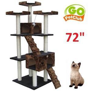 "NEW GO PET CLUB 72"" CAT TREE CONDO - 113073876 - BLACK/BROWN - CAT SCRATCHER COTTAGE"
