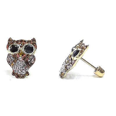 Brown Cubic Zirconia Earrings (14k Solid Gold Owl Pave Brown Cubic Zirconia Screwed Back Stud Earrings ON)