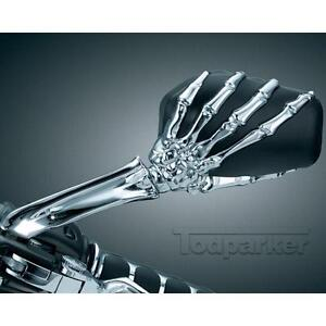 Universal Motorcycle Skull Hand Chrome Rearview Side MIRRORS 8MM 10MM