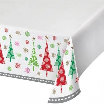 Contemporary Christmas Trees Plastic Banquet Tablecloth Winter Party Decoration - Christmas Plastic Tablecloths