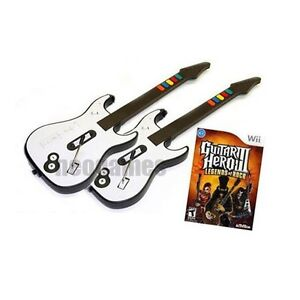 GUITAR-HERO-3-Legends-of-Rock-Bundle-Wii-2x-Guitars-GAME-CD-SAMEDAY-SHIP