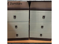 A Pair of Bedside Tables Hand Painted in ANNIE SLOAN Graphite & Duck Egg Chalk Paint.