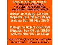 RETURN WHITSUN FLIGHTS. BRISTOL - MALAGA