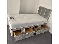 Standard Delivery Single Size Crushed Velvet Divan Bed Storage Drawers Optional