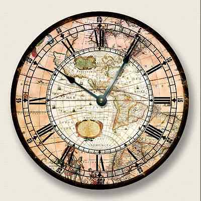 AMERICAS MAP Wall CLOCK - Vintage Print - Antique Old World Look - 7009_FT ()