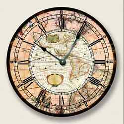 AMERICAS MAP Wall CLOCK - Vintage Print - Antique Old World Look - 7009_FT