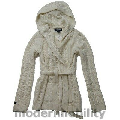 459914769a8 New Abercrombie Cable Knit Sweater Hoodie Wrap Beige Merino Wool Junior  Girls XL