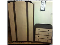 Old Style Bedroom Furniture Wardrobe & Chest of Drawers Hand Painted in Butterscotch Chalk Paint