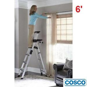 NEW* COSCO 6' ALUMINUM STEP LADDER MOLDED TRAY FOR TOOLS AND PAINT LADDERS SCAFFOLDS HEIGHTS ALUMINUM 108205782
