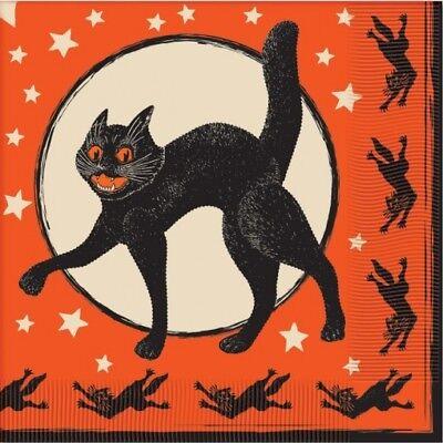 Vintage Black Cat Halloween Lunch Napkins Halloween Party Supplies Decorations