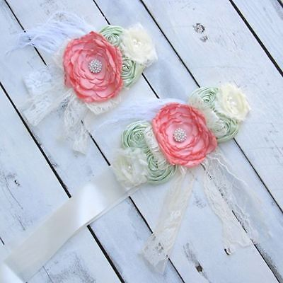 Coral and mint Bridal Sash, Bridal belt, Flower Girl Sash, Coral Maternity Sash